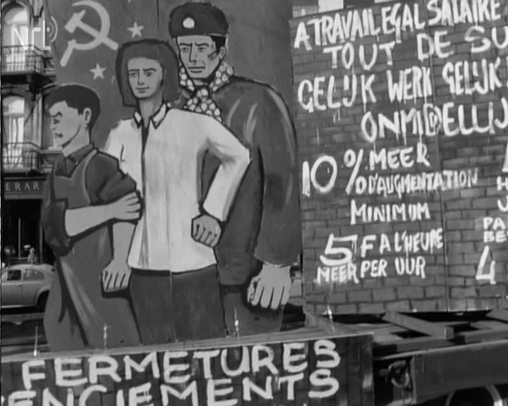 Archives VRT, Journal télévisé, 1er mai 1966. Défilé du 1er mai 1966 à Bruxelles : le reportage de la BRT apporte des informations supplémentaires par rapport aux descriptions, pourtant méthodiques, présentées dans les colonnes du Drapeau Rouge. Ici, un char combinant les revendications des ouvrières de la FN à la traditionnelle imagerie communiste.