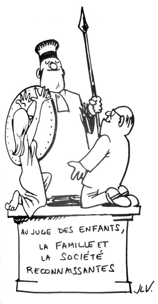 J.L.V., Caricature « Au juge des enfants », dans La Gazette Parallèle, n° 16, octobre-novembre 1979 (Bibliothèque de droit de l'UCL).