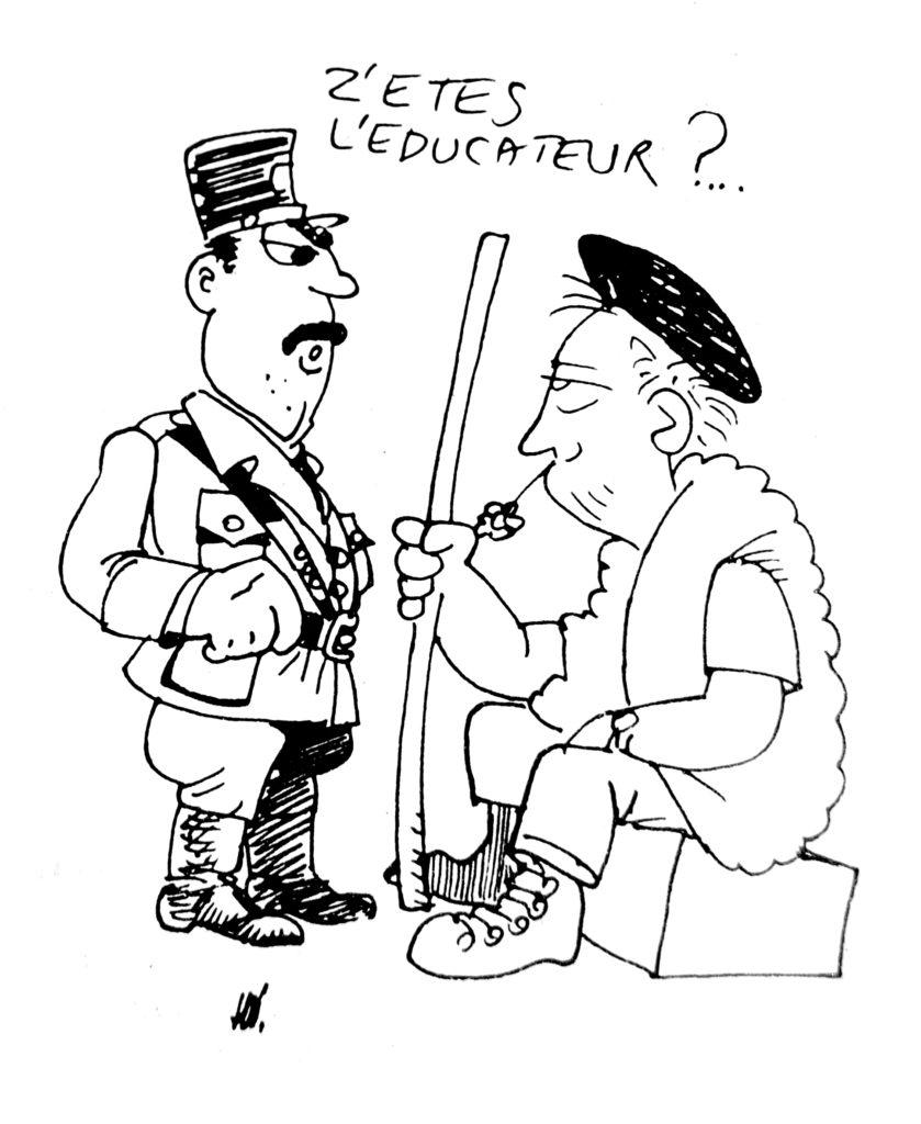 Caricature « Z'etes l'éducateur ?... », dans La Gazette Parallèle, n° 31, février 1981 (Bibliothèque de droit de l'UCLouvain).