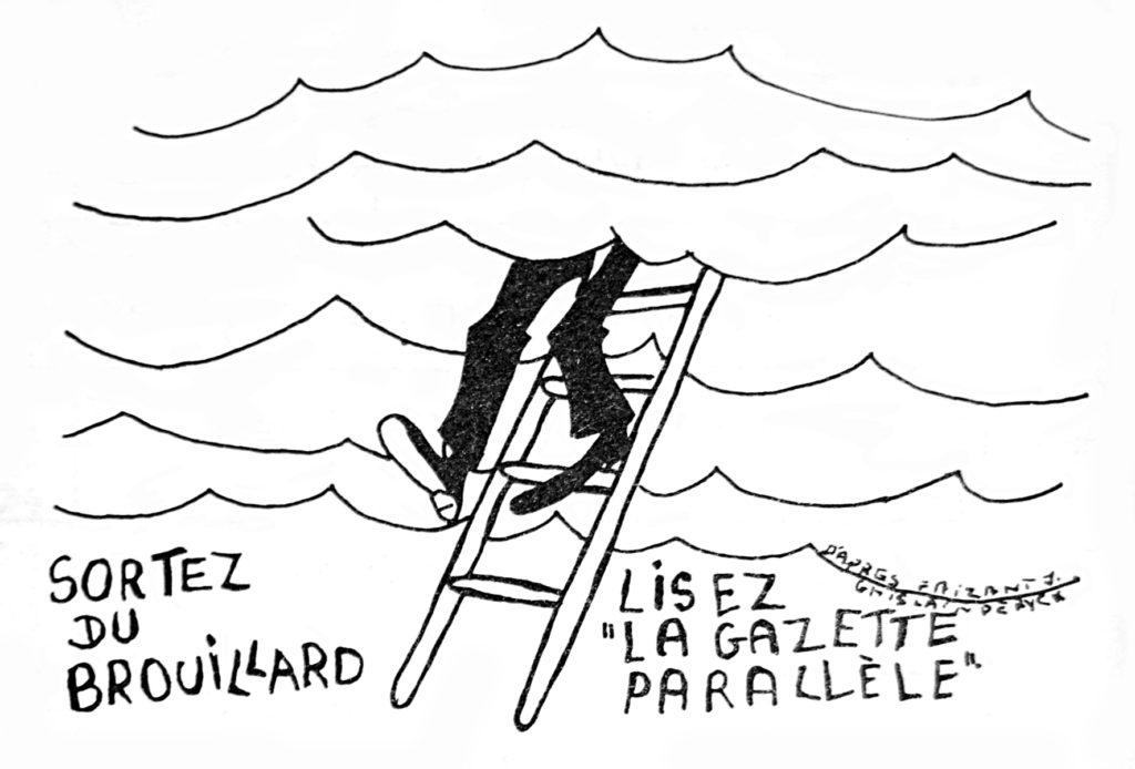 Caricature « Sortez du brouillard » pour promouvoir le journal, dans La Gazette Parallèle, n° 5, septembre 1978 (Bibliothèque de droit de l'UCLouvain).