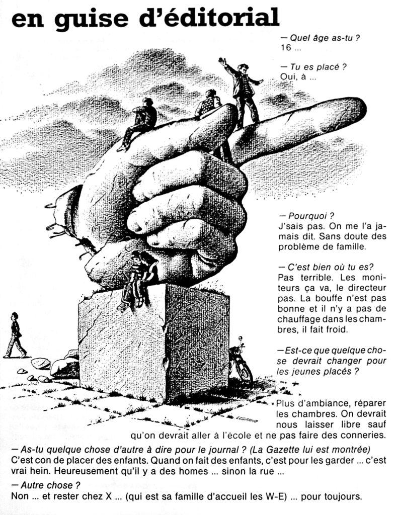 « En guise d'éditorial », La Gazette Parallèle, n° 41, décembre 1981 (Bibliothèque de droit de l'UCLouvain).