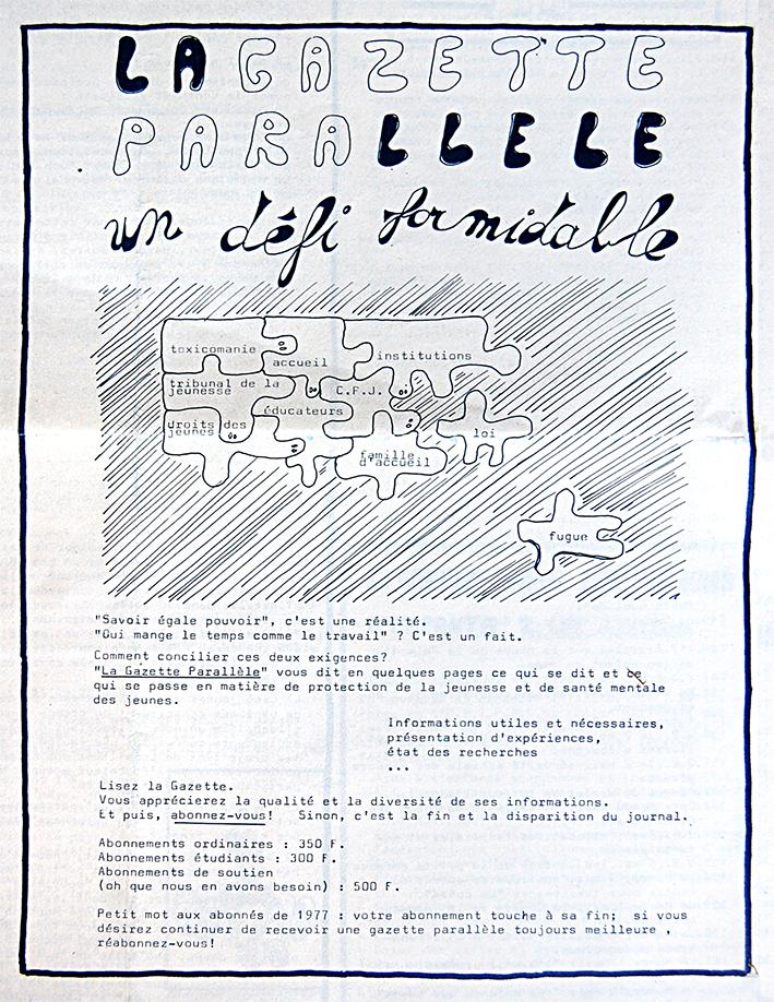 « Un défi formidable », La Gazette Parallèle, n° 3, mai 1978 (Bibliothèque de droit de l'UCLouvain).