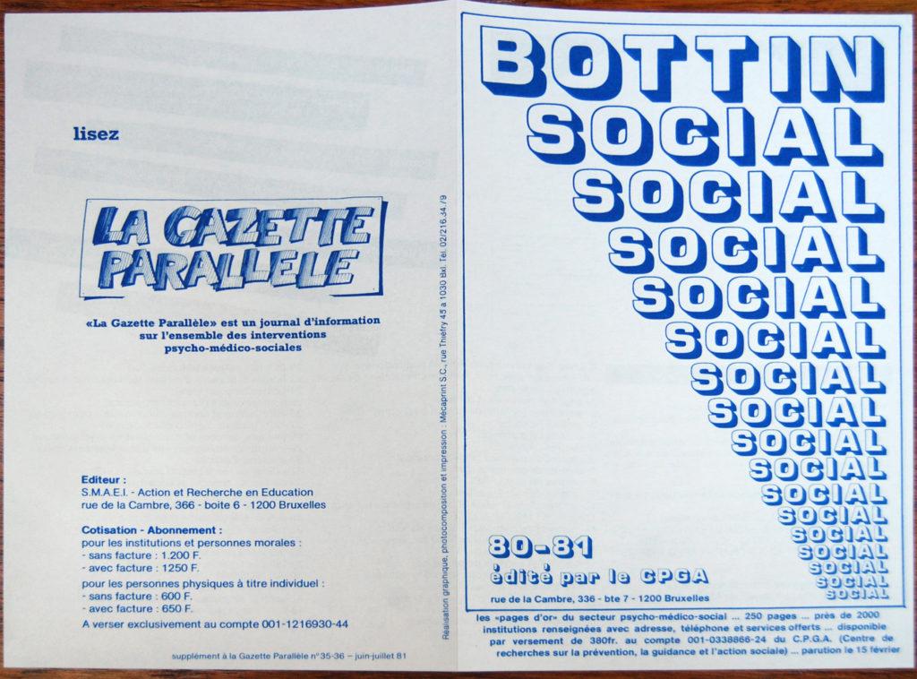 Publicité du Bottin social et de la Gazette Parallèle, 1980-1981 (Bibliothèque de droit de l'UCLouvain).