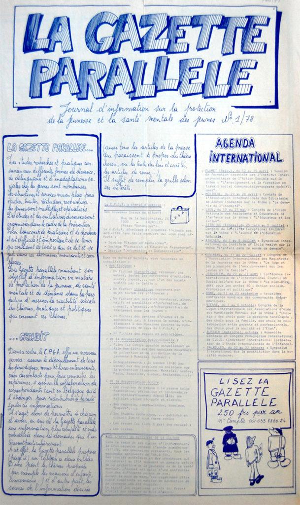 La Une du premier numéro de La Gazette Parallèle, journal d'information de la protection de la jeunesse et la santé mentale des jeunes, n° 1, mars 1978 (Bibliothèque de droit de l'UCLouvain).