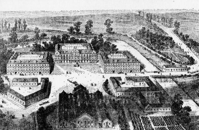 Lithographie du Familistère publiée dans J.-B.A. GODIN, Solutions Sociales, Guillaumin, Paris, 1871.