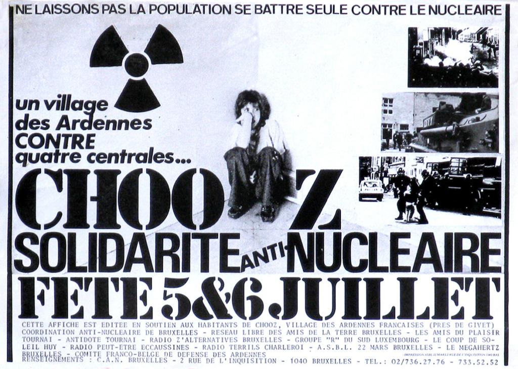 Affiche de soutien à la population de Chooz, [années 1980]. Coll. CARHOP, affiches, n° 85.