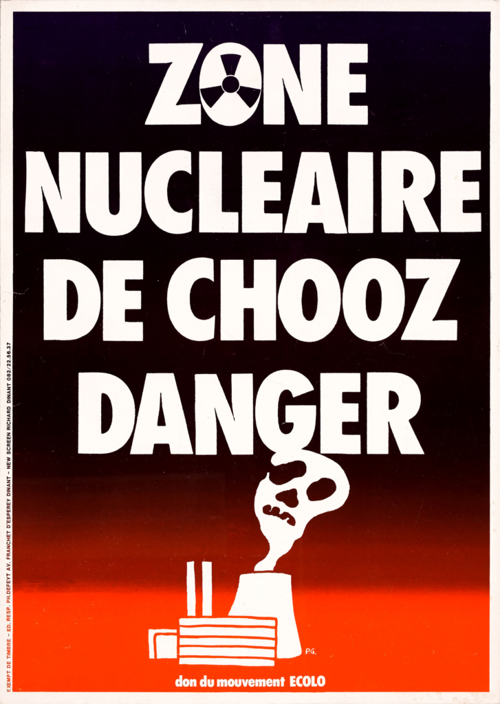 Affiche d'opposition du Mouvement Ecolo à la centrale de Chooz, [années 1980]. Centre d'archives privées Etopia, collection affiches.