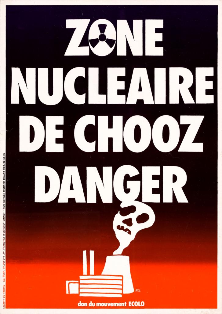 Affiche d'opposition du Mouvement Ecolo à la centrale de Chooz, [années 1980]. Centre d'archives privées Etopia, collection affiches.