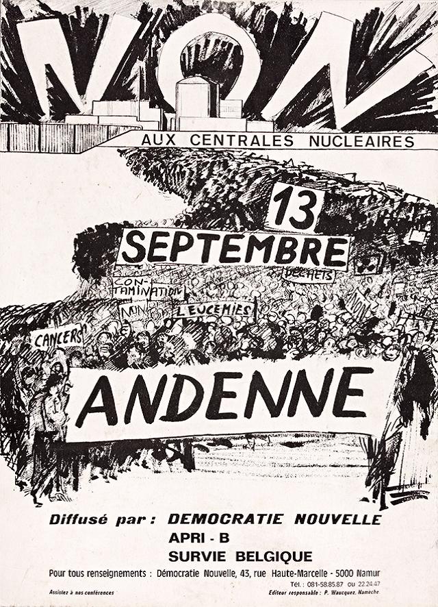 Nucléaire Moons, Affiche Tihange, Démocratie Nouvelle, 1975 (Collection ETOPIA).